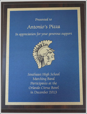 Picture of a placque awarded to Antonio's Pizza for continued Community Involvement